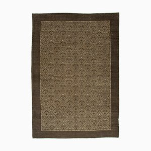 Brown Anatolian Wool Hand Knotted Large Overdyed Carpet