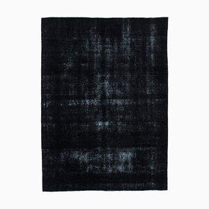 Black Anatolian Decorative Hand Knotted Large Overdyed Carpet