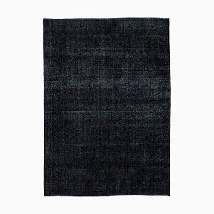 Large Vintage AnatolianBlack Hand Knotted Overdyed Carpet