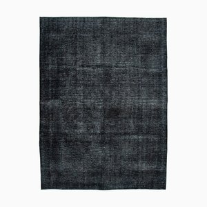 Black Oriental Antique Hand Knotted Large Overdyed Carpet