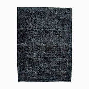 Schwarzer orientalischer antiker handgeknüpfter großer eingefärbter Teppich