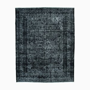 Black Oriental Traditional Hand Knotted Large Overdyed Carpet