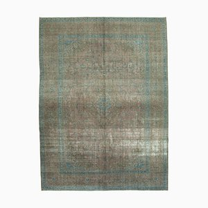 Grey Anatolian Antique Hand Knotted Large Overdyed Carpet