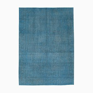 Blue Oriental Decorative Hand Knotted Large Overdyed Carpet