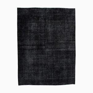 Black Anatolian Antique Hand Knotted Large Overdyed Carpet
