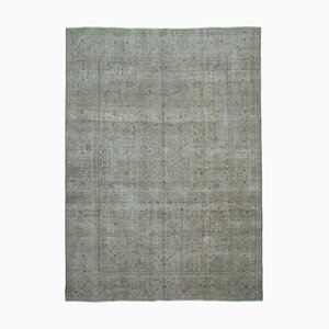 Grey Oriental Antique Hand Knotted Large Overdyed Carpet