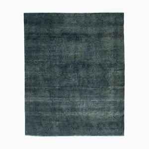 Blauer Handgeknüpfter Orientalischer Überfärbter Überfärbter Teppich