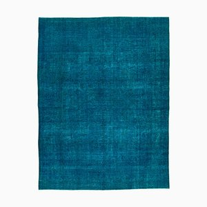 Blue Turkish Low Pile Handmade Large Overdyed Carpet