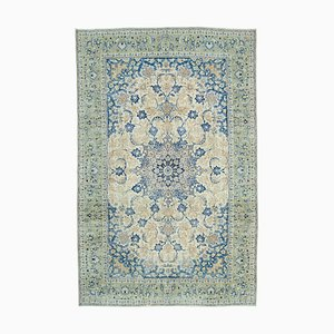 Blue Oriental Contemporary Hand Knotted Large Vintage Carpet