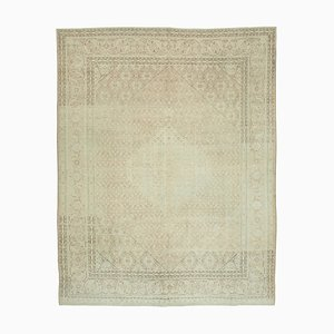 Beige Anatolian Wool Hand Knotted Large Vintage Carpet