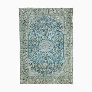 Blue Anatolian Antique Hand Knotted Large Vintage Carpet