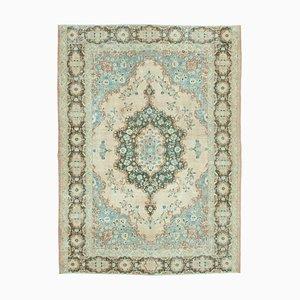 Blauer Anatolischer Hand Geknüpfter Niedriger Vintage Teppich