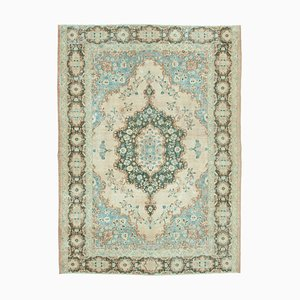 Blue Anatolian Low Pile Hand Knotted Large Vintage Carpet