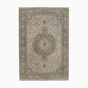 Beige Oriental Traditional Hand Knotted Large Vintage Carpet
