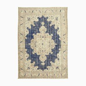 Beige Turkish Wool Handmade Large Vintage Carpet