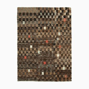 Brown Anatolian Handmade Wool Flatwave Kilim Carpet