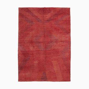 Vintage Red Handmade Wool Flatweave Kilim Carpet