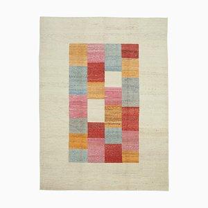 Beige Turkish Handmade Wool Flatwave Kilim Carpet