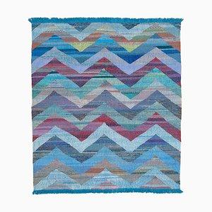 Blue Handmade Turkish Wool Flatwave Kilim Carpet
