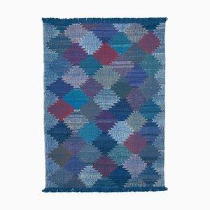 Vintage Blue Handmade Wool Flatweave Kilim Carpet