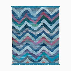 Blue Handmade Decorative Wool Flatwave Kilim Carpet