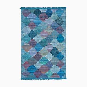 Blue Handwoven Decorative Flatwave Large Kilim Carpet