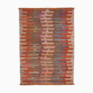Vintage Orange Handmade Wool Flatweave Kilim Carpet