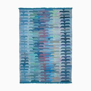 Blue Hand Knotted Oriental Wool Flatwave Kilim Carpet