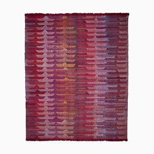 Red Handmade Anatolian Wool Flatwave Kilim Carpet