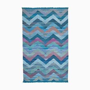 Blue Handmade Anatolian Wool Flatwave Kilim Carpet