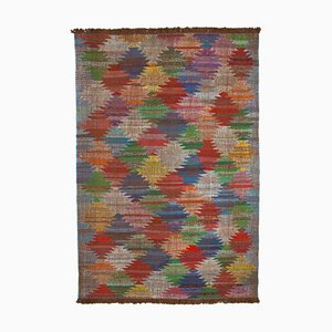 Multicolor Hand Knotted Turkish Wool Large Kilim Carpet