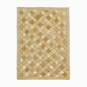 Brown Handmade Anatolian Wool Flatwave Kilim Carpet