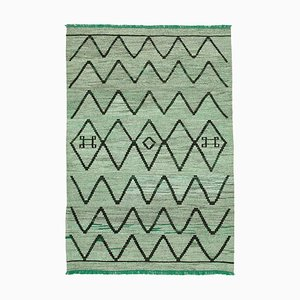 Green Hand Knotted Turkish Wool Large Kilim Carpet