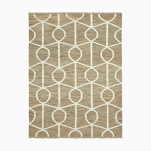 Beige Handwoven Decorative Flatwave Large Kilim Carpet