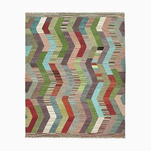 Handgearbeiteter anatolischer Flatwave Kelim Teppich aus Wolle