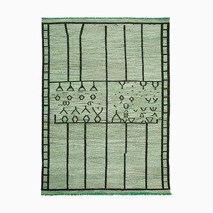 Vintage Green Handmade Wool Flatweave Kilim Carpet