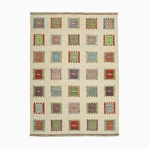 Beige Handmade Turkish Wool Flatwave Kilim Carpet