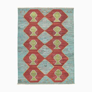 Blue Hand Knotted Turkish Wool Large Kilim Carpet
