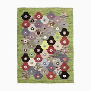 Green Handmade Turkish Wool Flatwave Kilim Carpet