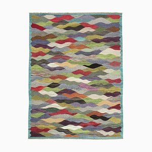 Multicolor Contemporary Turkish Wool Large Kilim Carpet