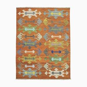 Orange Handmade Turkish Wool Flatwave Kilim Carpet