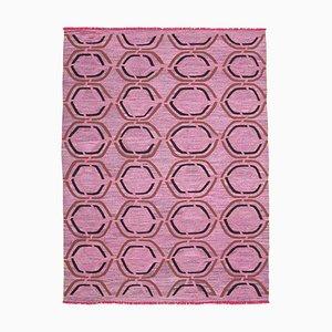 Pink Hand Knotted Geometric Wool Flatwave Kilim Carpet