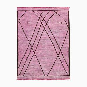 Pink Handmade Turkish Wool Flatwave Kilim Carpet