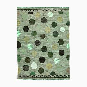 Green Handmade Decorative Wool Flatwave Kilim Carpet