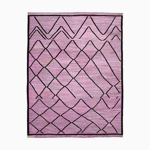 Lila Handgeknüpfter Flachwave Kelim Teppich aus Orientalischer Wolle