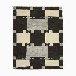 Hellbeiger Handgefertigter Anatolischer Flatwave Teppich aus Wolle