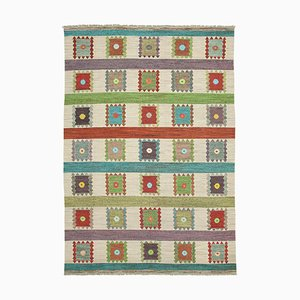 Multicolor Hand Knotted Geometric Wool Flatwave Kilim Carpet