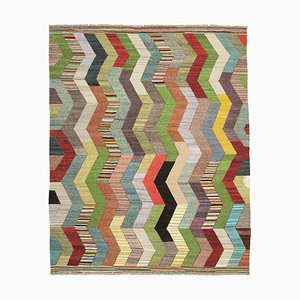 Multicolor Handmade Turkish Wool Flatwave Kilim Carpet