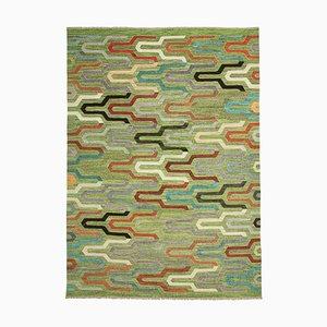 Green Hand Knotted Oriental Wool Flatwave Kilim Carpet