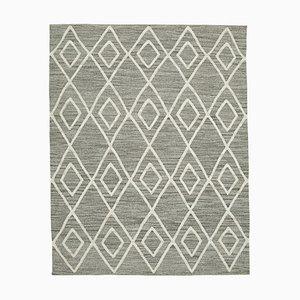 Large Vintage Turkish Grey Wool Kilim Carpet